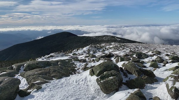 Video panorama from the summit of Moosilauke, with Kathy, on a very windy day!