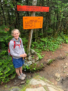 Lelia at the junction of Carriage and Glencliff, Mount Moosilauke.
