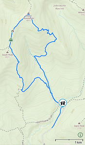 Mount Moosilauke: Map of our hike up Gorge Brook, across Carriage Road, and down Snapper.