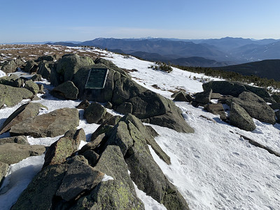 From the summit, looking toward the Franconia Range and, whiter and farther, the Presidential Range.