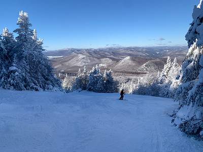 The trail up Pico Peak crosses the ski trails several times.
