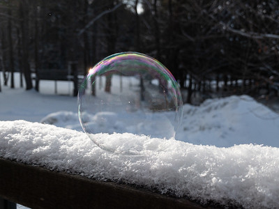 Soap bubble in freezing conditions.