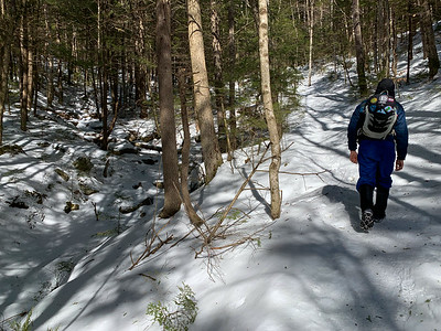 Andy begins the hike on Welch & Dickey, White Mountains of NH.