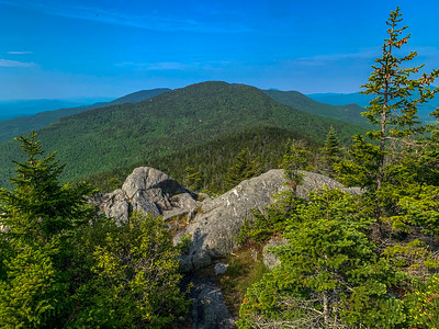 A hazy view of Mount Putnam from the summit of Worcester Mountain.