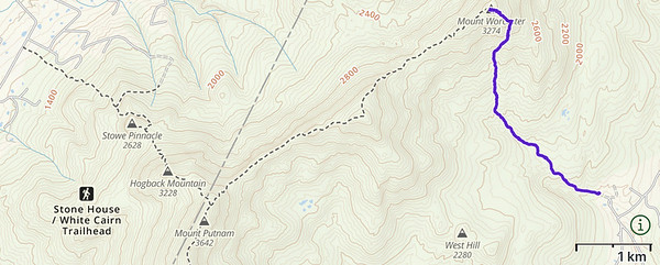 Map of my route up and down Worcester mountain, Vermont.