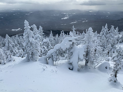 The upper sections of the trail to Worcester Mountain offer grand views even on this cloudy day. Vermont.