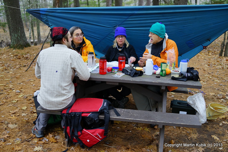 We set up tarp in case of rain, but here we are having lunch with oatmeal cookies Susan baked for the trip.