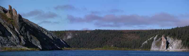 A panoramic view of a bend in Lower Noatak Canyon.