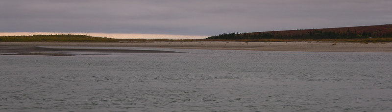 A panoramic view of the confluence with the Agashashok River.  The river below Noatak Village had changed dramatically (big, slow, muddy) and this gravel delta at the mouth the Agashashok was a welcome site when we were looking for a good spot to camp.