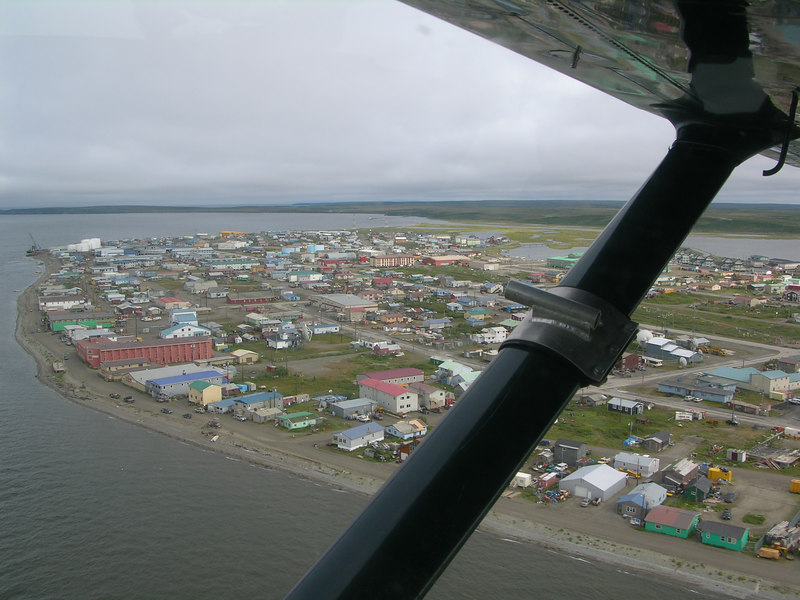 Kotzebue from the air. Mostly Inupiat Eskimo, Kotzebue (pop. ~3,500) is the population center and distribution hub for all of Northwest Alaska, an area the size of Indiana.