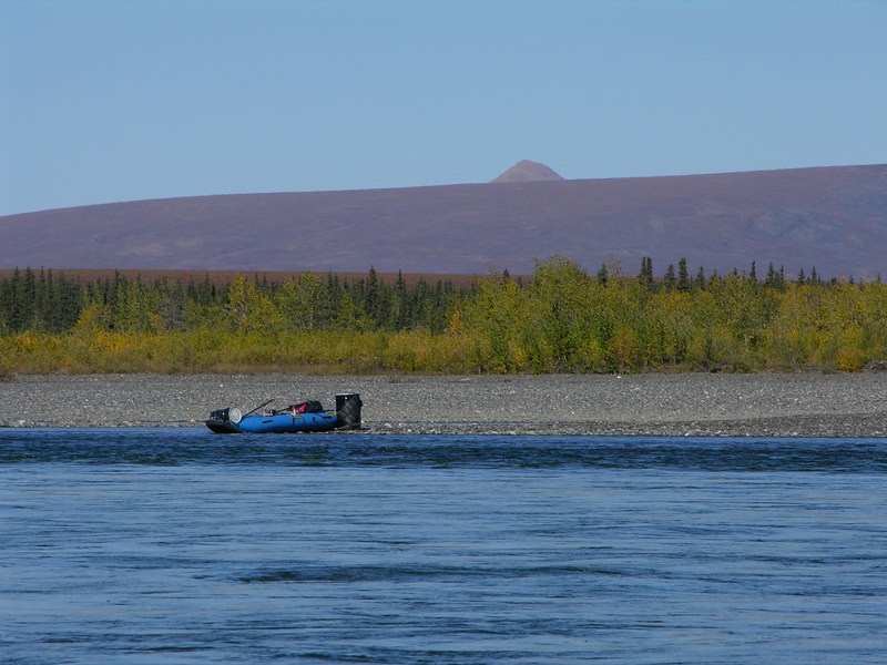 After seeing only one other group of floaters during the past 15 days we floated by a fly fisherman whose means of transportion was similar to our boat.  We surmised that the barrels were used as bear proof storage for food and gear.