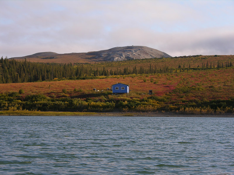 The first part of the day we floated through Lower Noatak Canyon.  The canyon had some very nice cabins, including this bright blue one near the head of the canyon.
