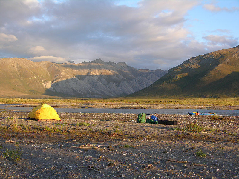 Our campsite on the evening of Day 6, across from the Kugrak River Valley in the background.