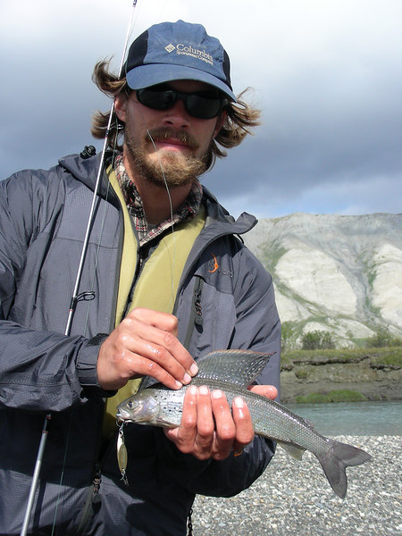 Trystan purchased a post-dated non-resident fishing license back in Kotzebue. When the start date came around, he wasted no time getting his line wet. Here he has the first catch of the trip: a true denizen of the crystal waters of the far north, an Arctic Grayling.