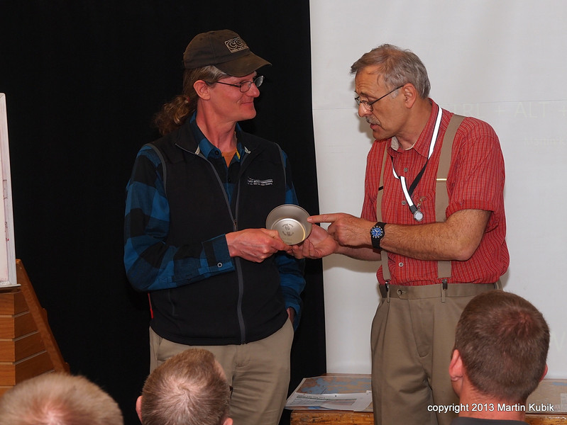 Presenting appreciation Snowpeak Ti bowl to Bear Paulson of Midwest Mountaineering.