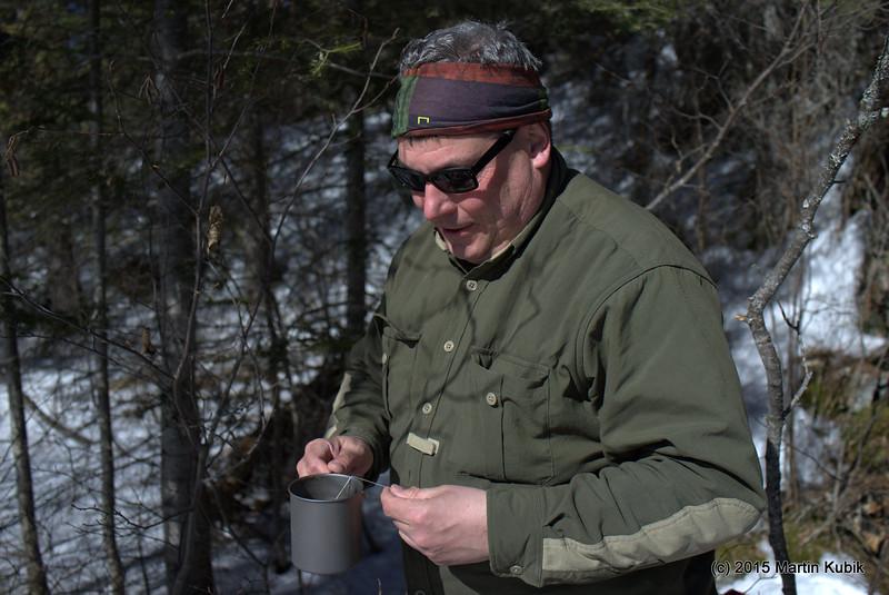 Himanshu split a Ramen soup while Dan enjoys a cup of tea during lunch break just before Shrike Lake.