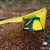 "Thermarest air matrace is 1 pound ( my old one was 2 pounds).  If you are short and/or willing to sleep on 20"" wide pad, they are even ligther.  This tent is two pounds with ample space inside for gear and overhang for pack and cooking gear.  It requires a tree nearby for the peak.  Sewed by author on vintage Singer 301a."