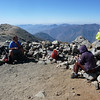 Peanut and Angela resting on Baldy summit