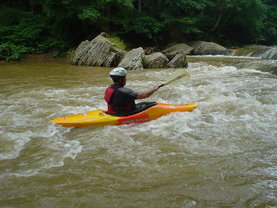 Surfing upstream on the Sanp Falls, Muddy Creek