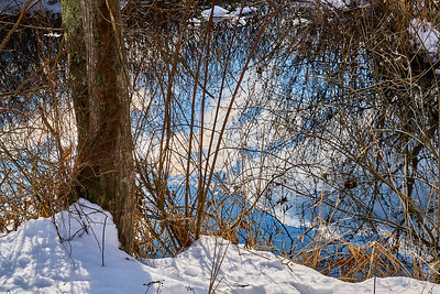 Canal Trail Reflections on Water Blue Sky Day