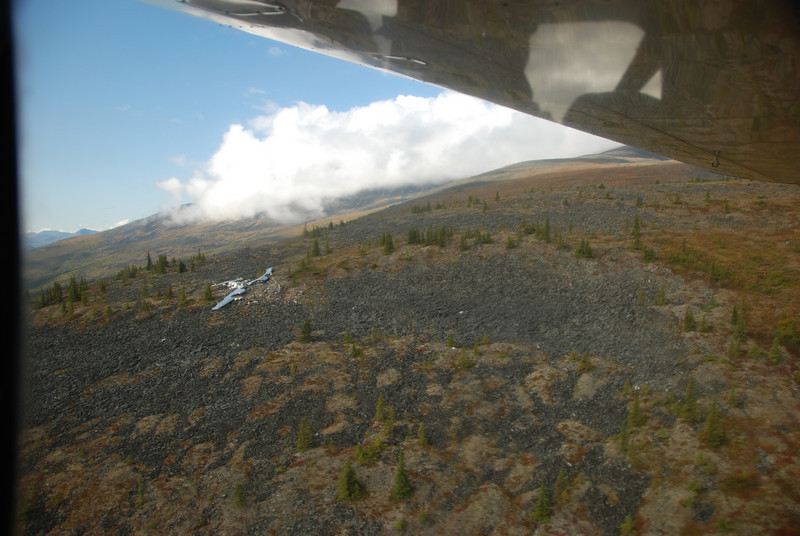 A B-24 crash site.  One man survived after parachuting from the doomed plane and enduring three months of Interior Alaska's winter of 1943-1944 (think low temperatures of --40 to -60 F).  Pat and Nick flew over this site several hours later and saw a nice grizzly bear near the wreckage.