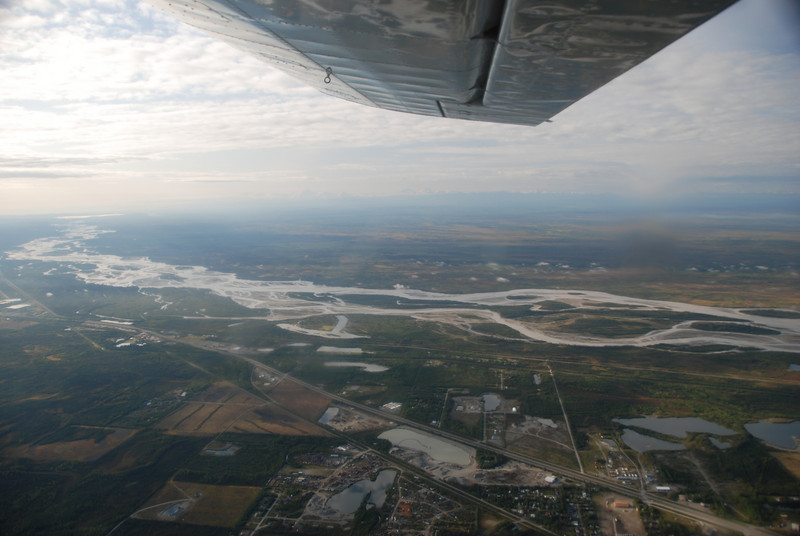 View south of the Tanana River and southeast Fairbanks/North Pole, AK.