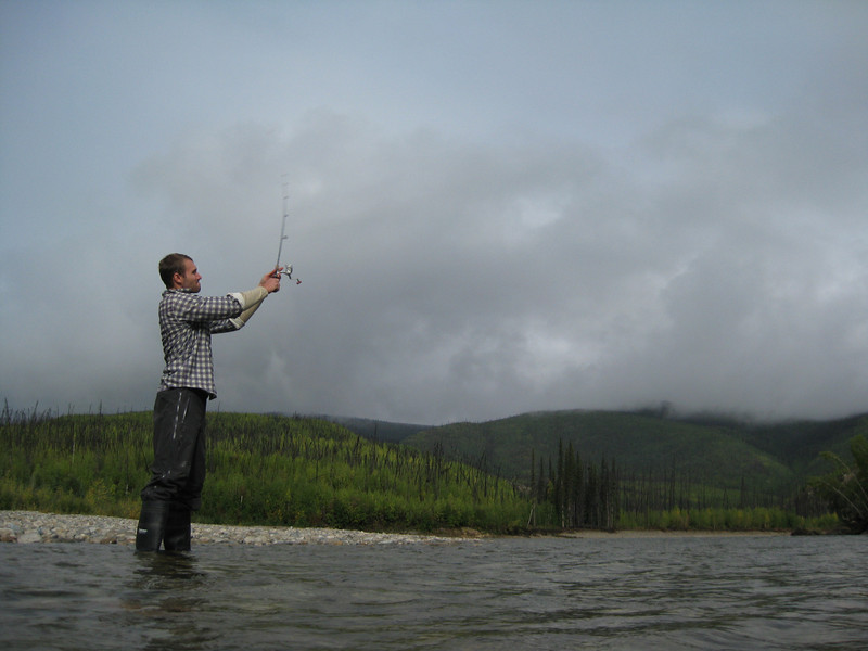 Devan fishing near the harvest site.