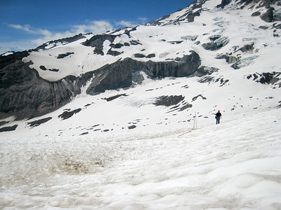 Climb to Camp Muir, ski down, Tim and Bill, July 2007