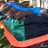 Buckles for optional lunch/ mittens etc. topside bag.  4 buckles included.  Mine have extra - for the prototype.  Note blue zipper flap and end loop for hanging.  Colors may vary.
