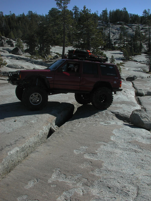 Driving over a foot wide fracture.