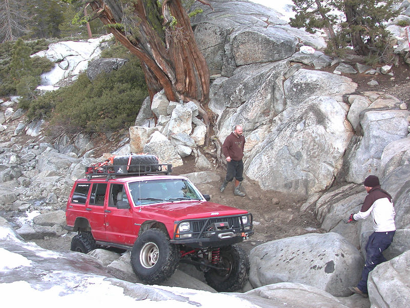 Pulling over the first obstacle in The Box.  The guy seen behind my truck disappeared as quickly as he showed up...he must have been on a day trip from Loon Lake (he was riding a quad, not driving a truck).