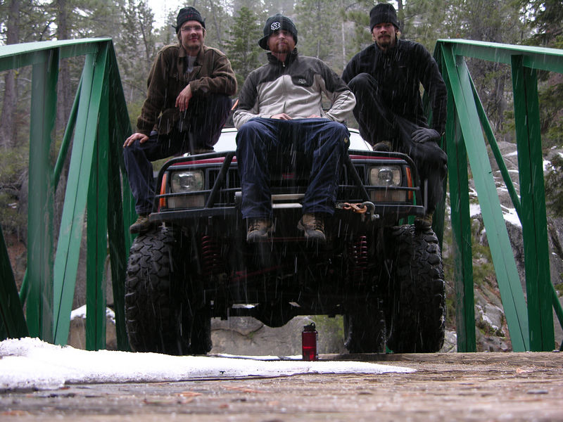 A group shot on the the Rubicon River bridge, which is less than 1 mile from the Springs.  Note freezing rain that began to fall as we posed on the bridge.