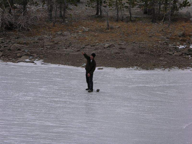 In this sequence, Ian demonstrates his rock-hucking ability all the way accross the frozen waters of Buck Island Lake.