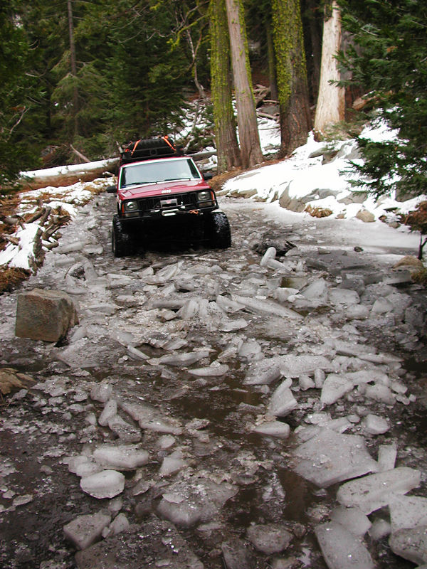After leaving Buck Island Lake, the trail quickly descends into the Rubicon River valley.  Rubicon Springs is on the far side of the river.  There was a lot of water and ice on the long decent down.