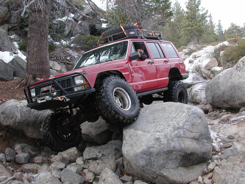 Pulling over a large boulder,
