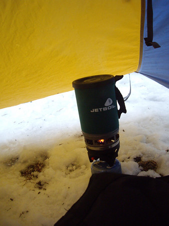 The jetboil hard at work.