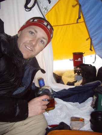 We were trapped in the tent from 1pm Saturday until Sunday morning.  (freezing rain) We were also extremely cold, so we made hot apple cider with brandy and played Rummy.