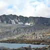 Goddard Ridge pano<br /> Wanda Pass at the far left, Mt Goddard at the far right
