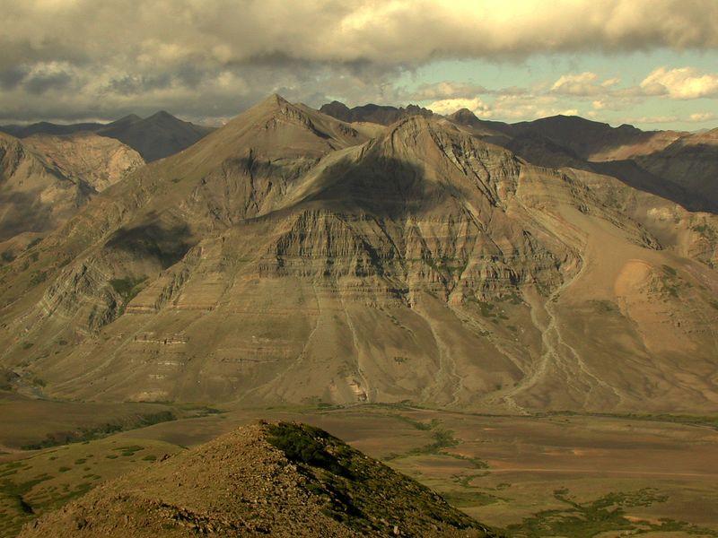 Cerro Los Pinos with Rio Los Pinos flowing left through the photo towards Laguna del Laja.