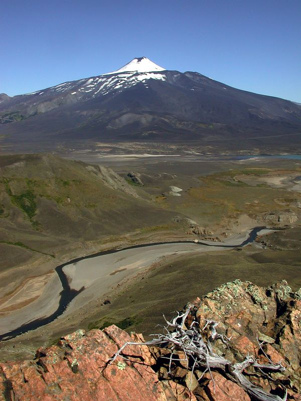 Volcan Antico with Rio Los Pinos in the mid-ground.
