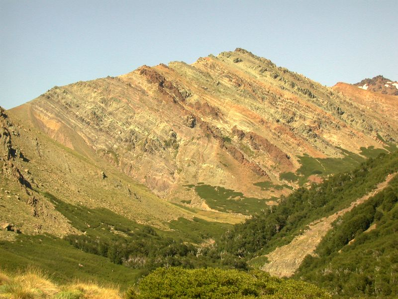 West dipping limb of the Estero Correntoso anticline (a concave down fold).