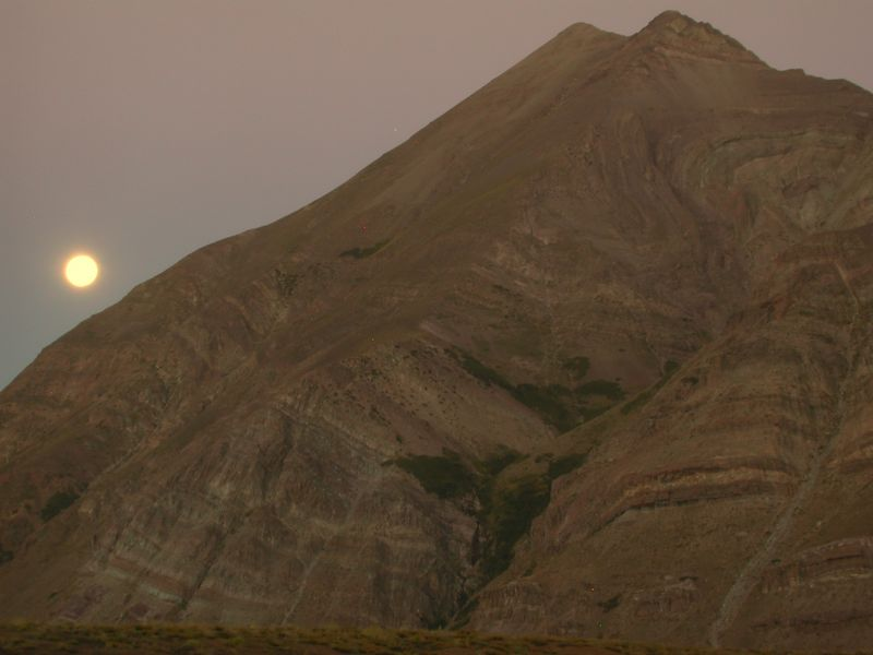 A full moon rising over Cerro Los Pinos.  This picture was taken at 10PM on our last night out in the field.