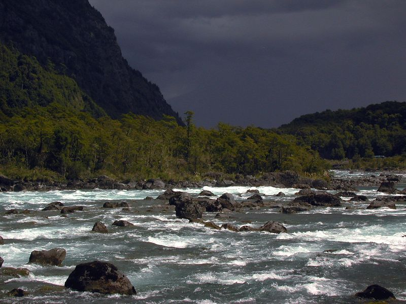 The mighty Rio Petrohue flowing from Lago Todos los Santos.  The power of this undammed river is beyond description.