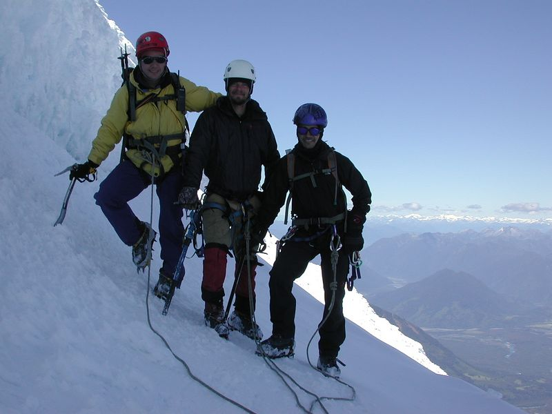 Mercello (my guide), Luis, and Trystan near the summit of Volcan Osorno.  Conaf (analogous to the National Park Service) only allows guided summit attempts due to the the technical aspects of glacier travel.