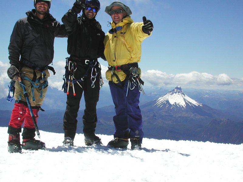 Group picture on the summit of Osorno.  The camera was falling as the picture was taken.
