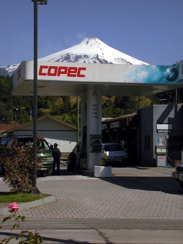 View of Volcan Villarrica from Pucon.  Gas was selling for about 500 pesos (~ $1 US) per liter.