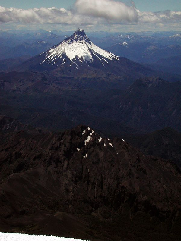 View of Volcan Puntiagudo from the summit of Osorno.