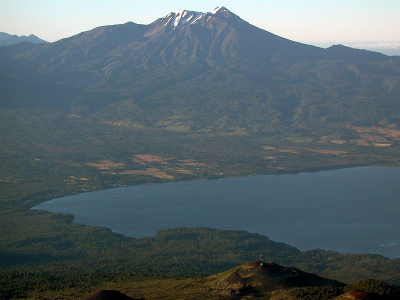 View of Volcan Calbuco and Lago Llanquehue from the flank of Volcan Osorno.  Rio Petrohue flows near the left edge of the photograph.