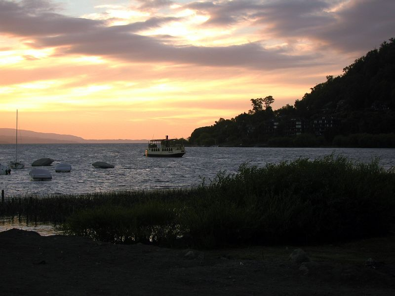 Lago Villarrica at sunset.
