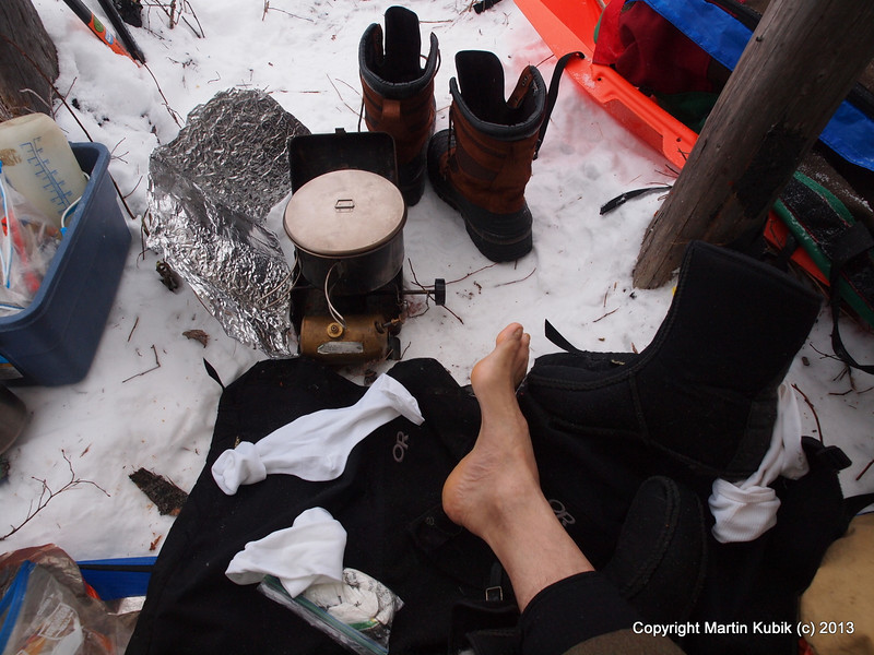 Tutorial 1:  Start by taking off damp socks.  Do this in the evening after full days of snowshoeing.
